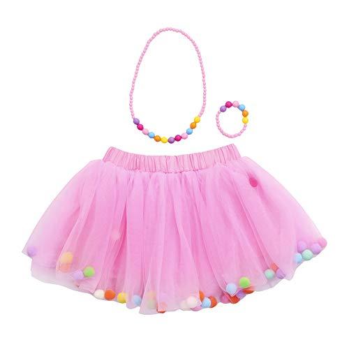 Lazzboy Ragazze/Bambina tutù Tutu Tulle Colorato Pompon Balletto Gonna Principessa Dress-up Danza...