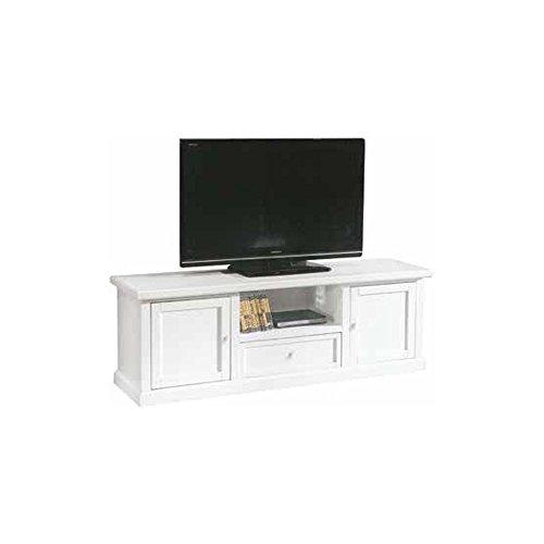 InHouse srls Mobile Porta TV, Arte povera, in Legno massello e MDF con rifinitura in Bianco Opaco -...