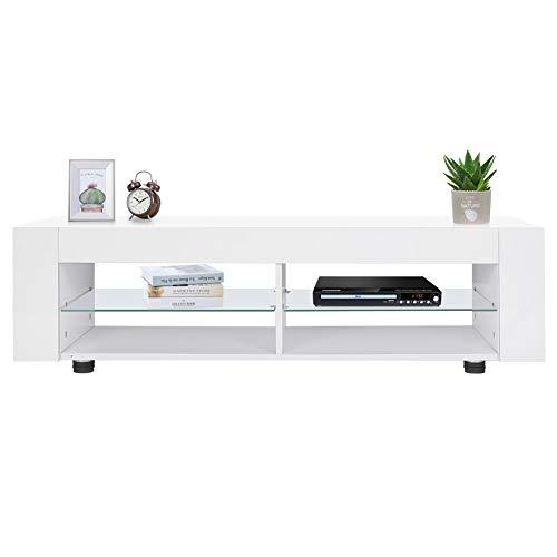 Mobiletto per TV, con mensole aperte, moderno, bianco, ampia superficie piatta, mobile per TV con...
