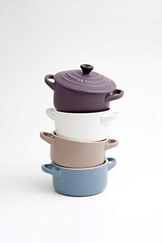LE CREUSET Le Set di 4 Mini Cocotte in Gres smaltato, 0,2L Cotton/Sisal/Blu (Marsiglia)/Ametist, Ceramica, Multicolore (Mate à Croquer), 10 cm