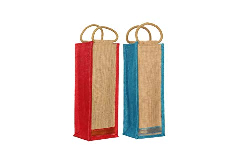 MARINA ECO BAGS Unisex Jute Water Bottle Bag/Wine Bag with Reinforced Handles (11X11X35 Cm) -Pack of 2