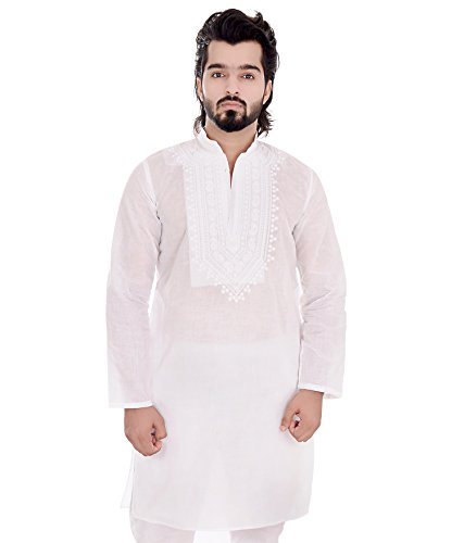 Awadh Chikan Craft Men's Cotton Lucknowi Chikan Embroidered Neck Design Kurta (Medium)