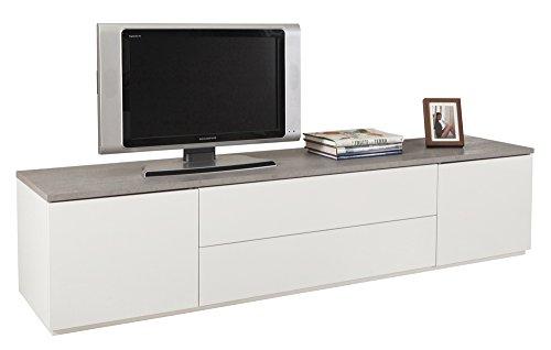 Porta TV di Colore Bianco Lucido con Top Grigio Cemento - Linea Privilegio