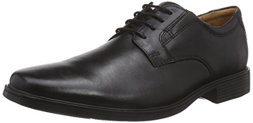 Clarks Herren Tilden Plain Derby, Schwarz (Black Leather), 44 EU