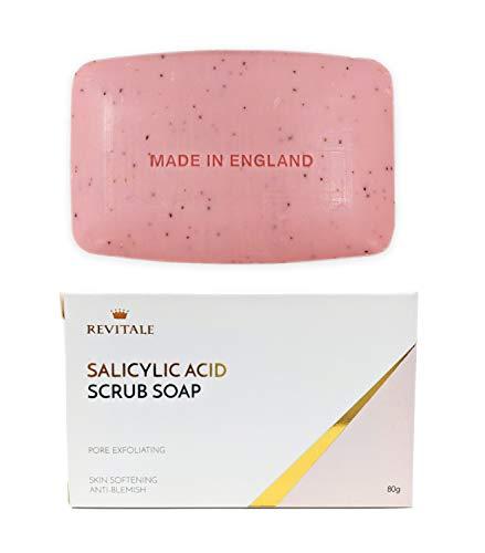 Jabón exfoliante con ácido salicílico poro exfoliante, lucha contra el acné, piel suavizante,...