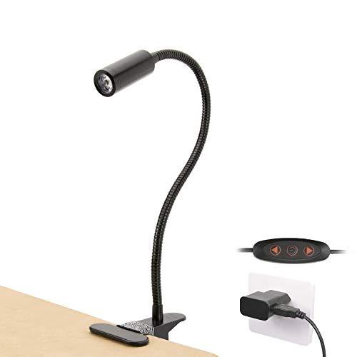 KWOKWEI LED Klemmleuchte, 3W Dimmbare Bettleuchte mit 360° flexibel Schwanenhals, Leselampe/Schreibtischlampe mit Clip und USB-Kabel, Weiß Augepflege Klemmlampe mit Multi-Level-Helligkeit (Schwarz)