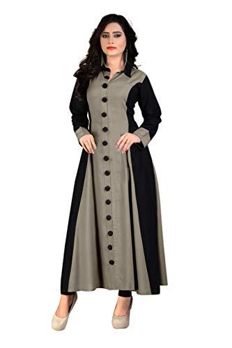Madhuram Textiles Womens Rayon Princess cut Kurta (M-114 CMT XXL_Grey_XX-Large)