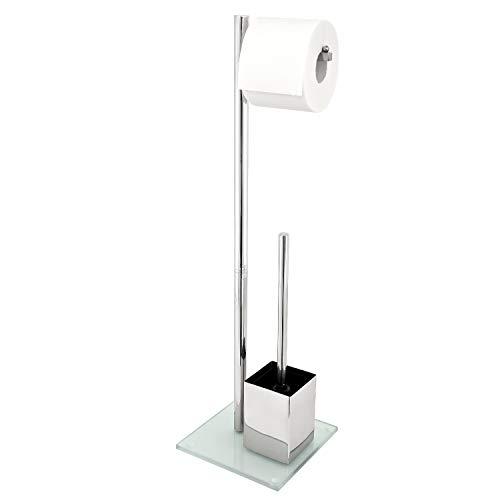 bremermann WC-Ständer, WC-Garnitur, WC-Bürste, Edelstahl rostfrei, Sicherheitsglas (weiß)