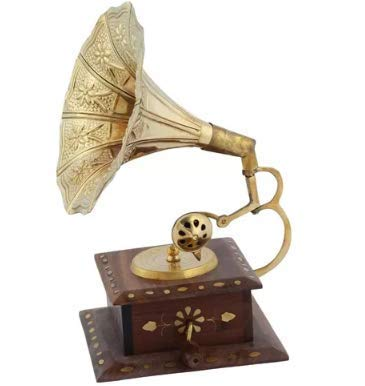 Amazing Craft Antique Sheesham Brass Inlay Gramophone Show Piece