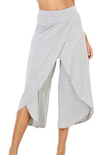 FITTOO Pantalones De Yoga Sueltos Cintura Alta Mujer Pantalones Largos Deportivos Suaves y Cómodos1080#4 Gris XL