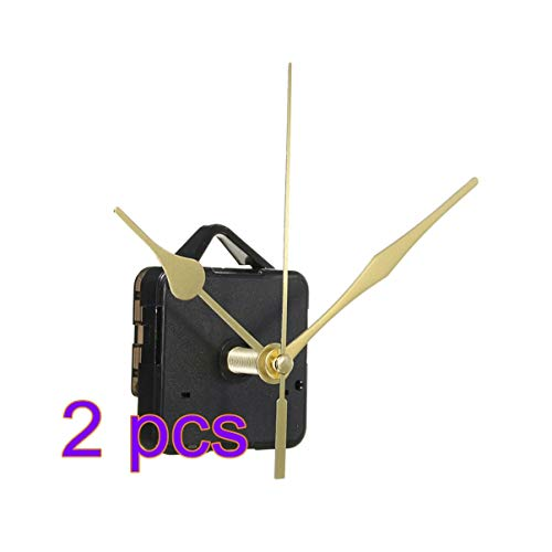 DOITOOL 2 Pezzi Meccanismo Orologio al Quarzo silenzios meccanismo di Movimento per Orologio Kit di movimenti per Orologi da Parete con 3 lancette per Orologio da Parete Senza Batteria (Oro)