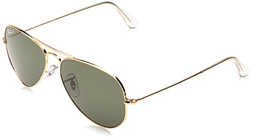 Ray-Ban Polarized Aviator Men's Sunglasses (0RB3025001/5855millimeters|Crystal Green Polarized)