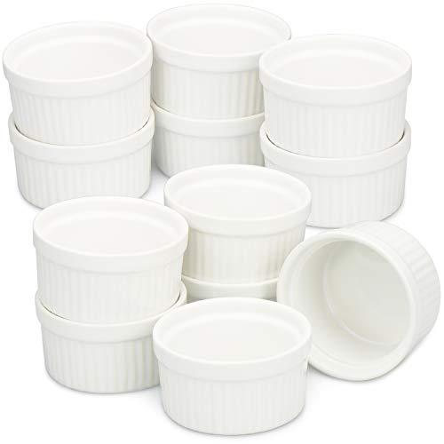 COM-FOUR 12 ciotole di ragout Fin in bianco, teglia da forno come stampini per il soufflé, stampi...
