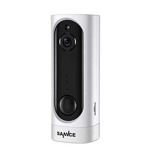 SANNCE 720P HD IP Telecamera Ricaricabile Senza Fili con Batteria Integrata Smart IR Night Vision Rilevamento Movimento PIR Audio Bidirezionale Supporto Max 128GB TF Card APP Alarm Push