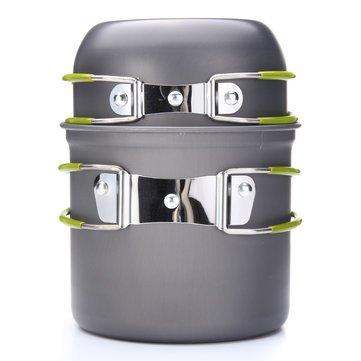 Rvs Camp Cooking Pot Bowl Set Ultralight Picnic BBQ Cookware