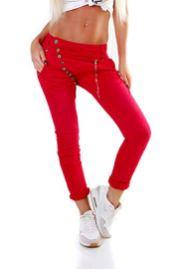 Fashion4Young 5857 MOZZAAR Damen Jeans Rot