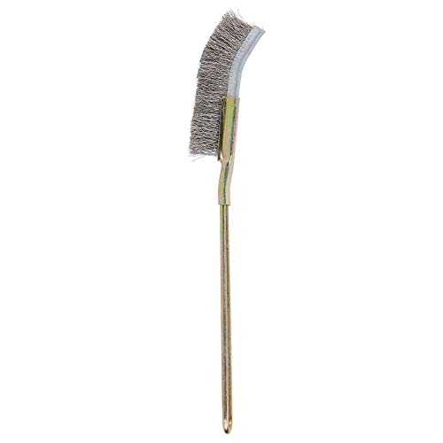 Qinlorgo Cepillo para bonsái, Herramienta de Limpieza de jardín de Cepillo Suave y bonsái de Acero Suave Curvado/Recto(Cabeza Curvada)