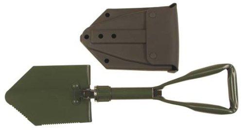 Klappspaten neues BW Modell 3-tlg. mit Tasche klappbarer Spaten Bundeswehr Farbe: oliv von MFH