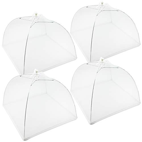 COM-FOUR® 4x Speiseschirm, Abdeckung für Speisen, Insektenschutzhaube, 43 cm (04 Stück - weiß)