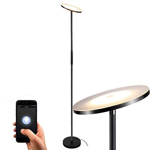 Stehlampe LED Deckenfluter Stehleuchte Dimmbare,TECKIN Wlan Smart Alexa wifi Standleuchte Fernbedienbar, Funktioniert mit Amazon Alexa und Google Home 3000K Warmes