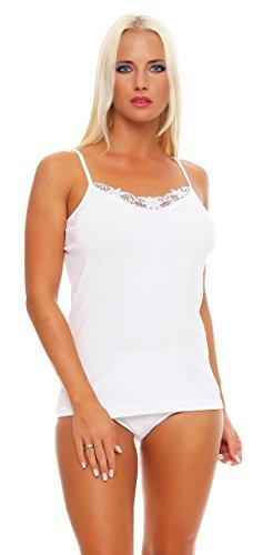 4er, 8er oder 12er Pack feine Spaghettiträger Damen-Unterhemden weiß mit Spitze; 100% gekämmte Baumwolle, Gr. 36/38 bis 56/58 lieferbar