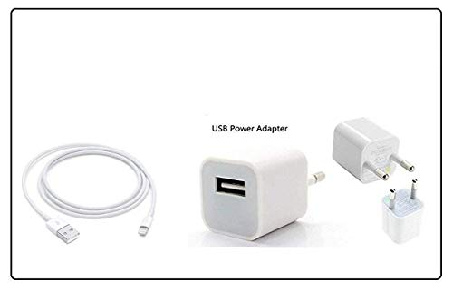 YCNEX EQORT Power Charger Fast Charging Adapter with USB Cable for Apple iPhone 5/5s/6/6S/7/7Plus/8/8 Plus (White)