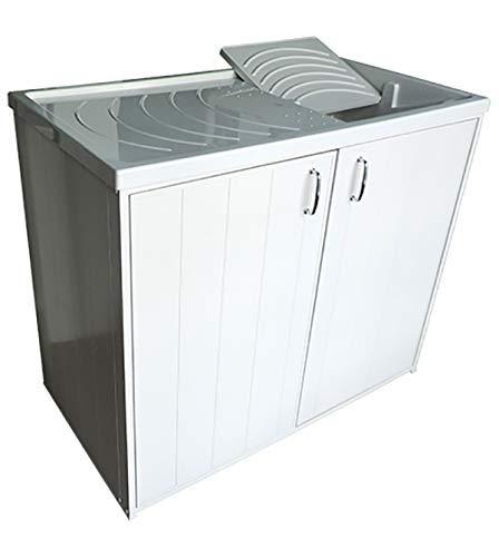 Mobile coprilavatrice con lavatoio lavapanni, versione reversibile, con 2 ante
