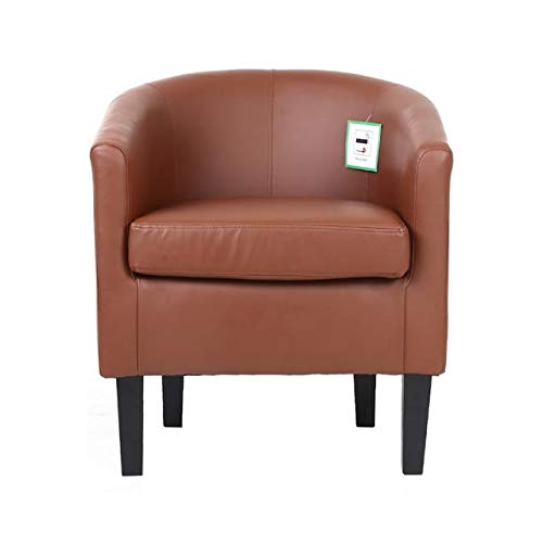 SAVES DIRECT - Poltrona in Pelle Sintetica per Soggiorno, Sala da Pranzo, Reception, Ufficio, Colore: Marrone