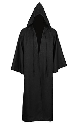 Cusfull Capa Con Capucha Capa Disfraz de Caballero Cool Cosplay disfraz para Traje de Halloween (S, Adulto Negro)