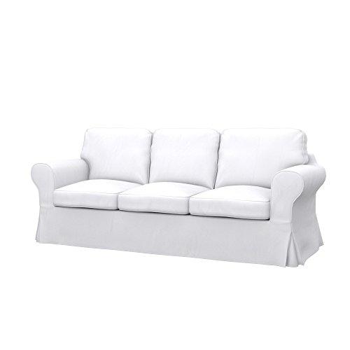 Soferia Fodera Extra Ikea EKTORP PIXBO Divano Letto a 3 posti, Tessuto Eco Leather White
