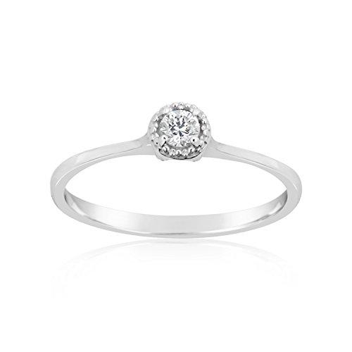Mille Amori Anello Donna–Oro Bianco 9kt 375/1000–diamanti 0.02Carati e Oro bianco 375/1000, 18 cod. SOLML002B