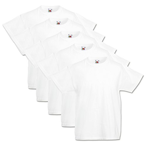 5 Fruit of the loom Kinder T-Shirts Valueweight 104 116 128 140 152 Diverse Farbsets auswählbar 100{bf62906d93452ccf4a1f577c0c71ca471e9a983314f62f70ed04f221160b2362} Baumwolle (140, Weiss)