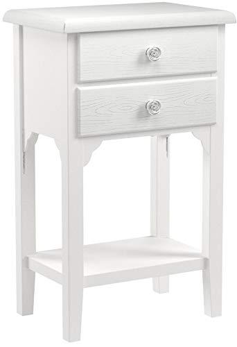 Comodino in stile shabby chic bianco con due cassetti e un ripiano. Bellissimo comodino in legno mdf...