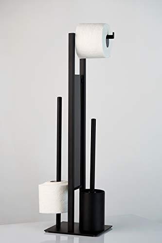 WENKO Stand WC-Garnitur Rivalta - WC-Bürstenhalter, Stahl, 18 x 70 x 23 cm, Schwarz