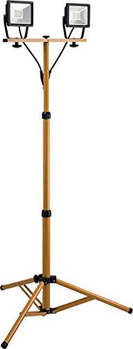 Goobay 2x 20W LED Baustrahler zwei Flutlichstrahler auf Teleskopstativ, Zink, 20 W, Schwarz/Gelb,
