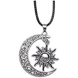 Collares Luna y el sol colgante bañado en plata cuero negro collares largo cadena collares