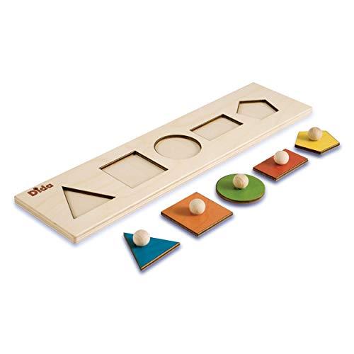 Dida - Seriazione Forme Geometriche. Puzzle in legno per bambini, con sequenza di tessere ad...