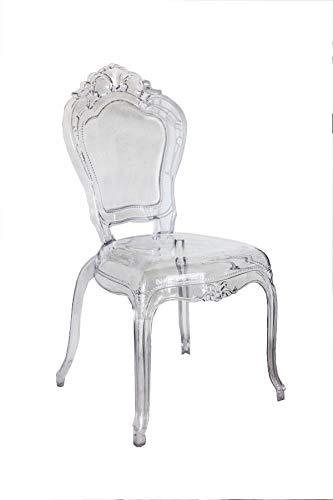 Keyhome Coppia Due sedie Trasparenti in plexiglass - Stile Barocco Luigi XIV Ghost da Pranzo, da Tavolo, Salotto, Cucina, Ufficio, Camera, Ristorante, Bar - h98x44x49 cm