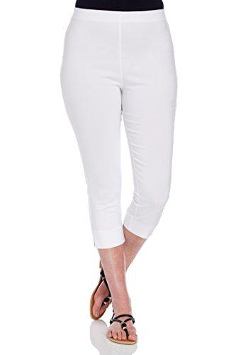 Roman Originals Donna Pantaloni Bengaline Capri Stretch Elasticizzato - Le Signore Pantalone 3/4 di Lunghezza Corto Legging - White - Taglia 48