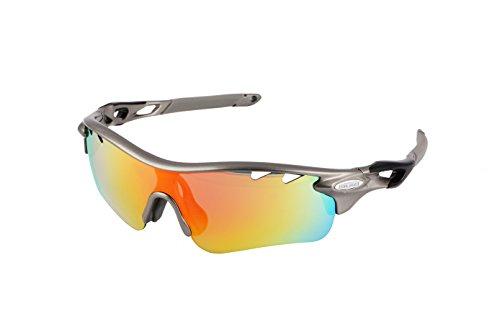 Gafas ciclismo polarizadas con 5 lentes intercambiables UV 400. Gafas deportivas, Running trail running, ciclismo BTT, para Hombre y Mujer (Gris)