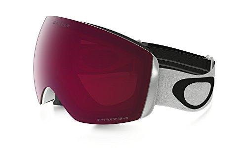 Oakley, Maschera da snowboard Flight Deck, colore Bianco Matte/Logo Nero/Banda Bianca/Lenti Rosa...