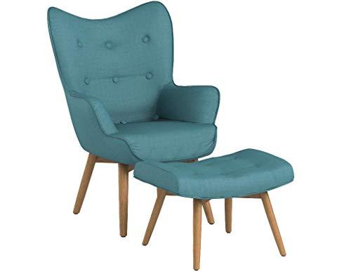 Poltrona con Puff Stile Scandinavo Design Vintage Colore Light Blue con Piedi in Legno Naturale - PROMOZIONE Lancio Offerta Online