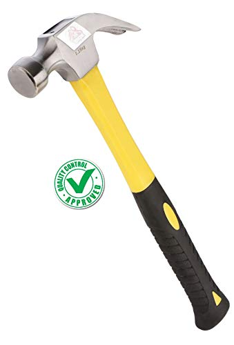 DOCOSS Multi Utility Stainless Steel Fibreglass Handle Claw Hammer with 250 gm Head , Rubber Grip and Shock Proof for Home use, Outdoor (Yellow)