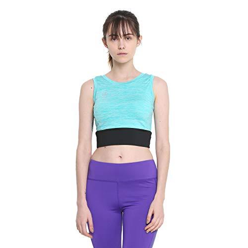 CHKOKKO Polyester Women's Yoga Pushup Sports Gym Strechable Crop Top Yellow Size M