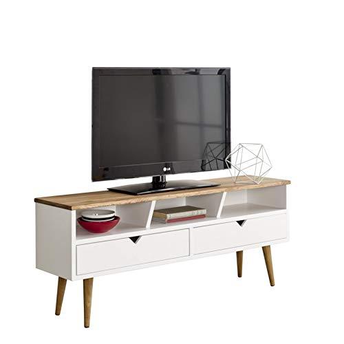 hogar24-TV, Mobile TV salotto Design Vintage, 2cassetti e Ripiano, Legno massello NATURALE,...
