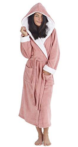 CityComfort Damen Bademantel mit Kapuze und Sherpa-Kapuze und Manschetten. Superweiche Robe mit pelzgefüttertem Kapuzenbademantel für Damen (M, Hellrosa)