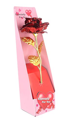 WebelKart 24K Red Gold Rose 10 INCHES - Best Gift for Loves Ones, Valentine's Day, Mother's Day, Anniversary, Birthday