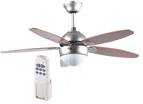 Sichler Haushaltsgeräte Ventilatoren: Deckenventilator VT-597 m. Holzflügeln, Beleuchtung, Fernbed, Ø 92 cm (Deckenventilatoren mit Lampe)