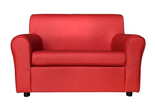 Totò Piccinni Divano 2 Posti Imbottito, con Braccioli, (L) 127x(P) 75x(A) 88 cm (Ecopelle, Rosso)