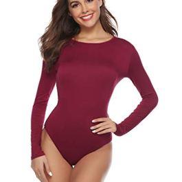 Abollria Bodysuit da Donna a Maniche Lunghe Body Girocollo Elegante per Primavera Autunno Inverno Maglia Basic-L(IT 44)
